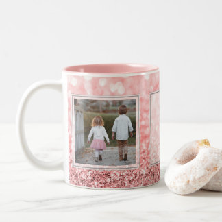 Pink Glitter 2 Pictures w/Text Design Your Own Two-Tone Coffee Mug