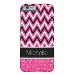 Pink Glitter and Black Chevron iPhone 6 Case Barely There iPhone 6 Case