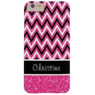 Pink Glitter and Black Chevron iPhone 6 Plus Case