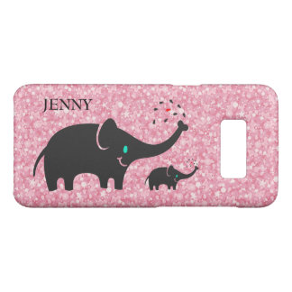 Pink Glitter And Black Elephants Case-Mate Samsung Galaxy S8 Case
