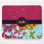 Pink Glitter and Colourful Butterfly Monogram