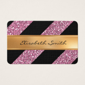 Pink Glitter and Diagonal Stripes, faux gold foil Business Card
