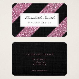Pink Glitter and Diagonal Stripes, Makeup Artist Business Card