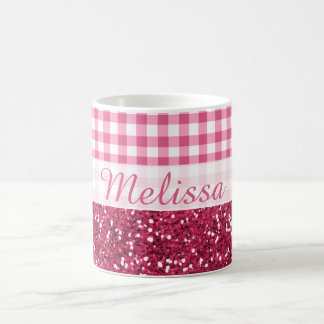 Pink Glitter And Gingham Check Custom Name Coffee Mug
