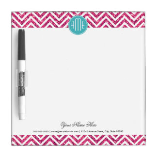 Pink Glitter and Mint Custom Monogram Dry Erase Board