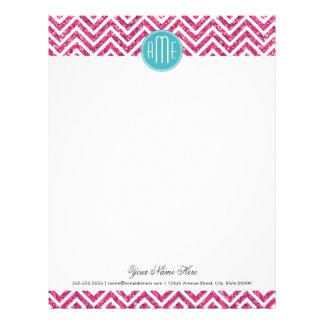 Pink Glitter and Mint Custom Monogram Letterhead