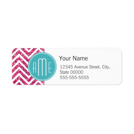 Pink Glitter and Mint Custom Monogram Return Address Label