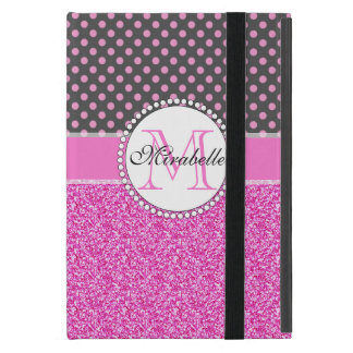 Pink Glitter and Pink Polka Dots on gray Named Case For iPad Mini