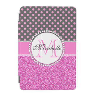 Pink Glitter and Pink Polka Dots on gray Named iPad Mini Cover