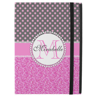 """Pink Glitter and Pink Polka Dots on gray Named iPad Pro 12.9"""" Case"""