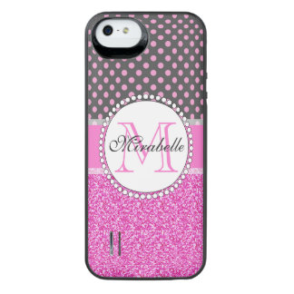 Pink Glitter and Pink Polka Dots on gray Named iPhone SE/5/5s Battery Case