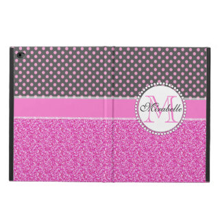 Pink Glitter and Pink Polka Dots on gray Named Powis iPad Air 2 Case