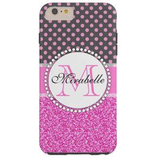 Pink Glitter and Pink Polka Dots on gray Named Tough iPhone 6 Plus Case