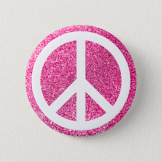 Pink Glitter and White Peace Symbol 2 Inch Round Button