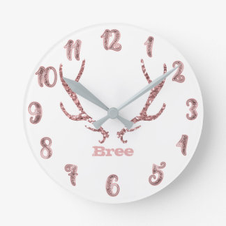 Pink Glitter Antlers Rose Gold Glam Personalized Round Clock