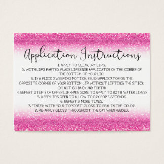 Pink Glitter Application Instructions Business Card