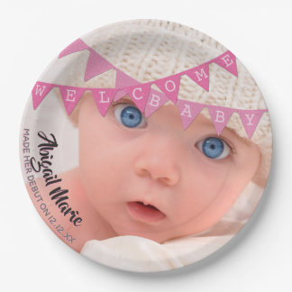 Pink Glitter Banners Welcome Baby Photo With Name Paper Plate