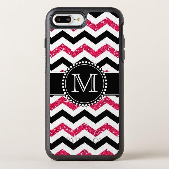 Pink Glitter, Black Chevron, Tough, Monogrammed OtterBox Symmetry iPhone 7 Plus Case