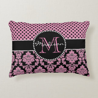 Pink glitter & black damask, Pink Black Dots Name Accent Pillow