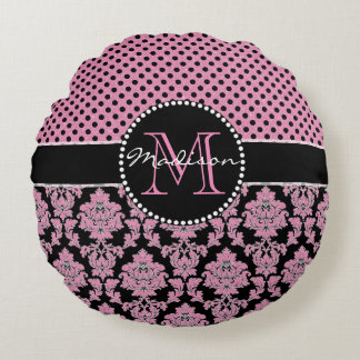 Pink glitter & black damask, Pink Black Dots Name Round Pillow