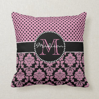 Pink glitter & black damask, Pink Black Dots Name Throw Pillow