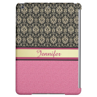 Pink Glitter, Black Gold Swirls Damask name Cover For iPad Air