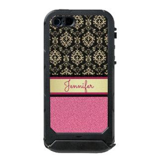 Pink Glitter, Black Gold Swirls Damask name Incipio ATLAS ID™ iPhone 5 Case