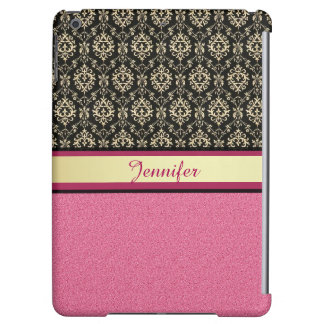 Pink Glitter, Black Gold Swirls Damask name iPad Air Cases