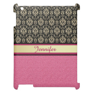 Pink Glitter, Black Gold Swirls Damask name iPad Case