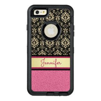 Pink Glitter, Black Gold Swirls Damask name OtterBox Defender iPhone Case