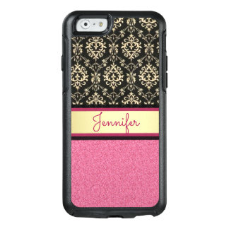 Pink Glitter, Black Gold Swirls Damask name OtterBox iPhone 6/6s Case