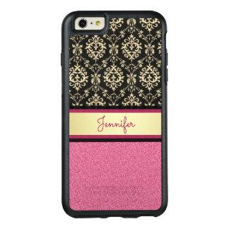 Pink Glitter, Black Gold Swirls Damask name OtterBox iPhone 6/6s Plus Case
