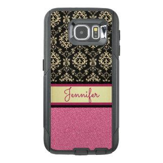 Pink Glitter, Black Gold Swirls Damask name OtterBox Samsung Galaxy S6 Case