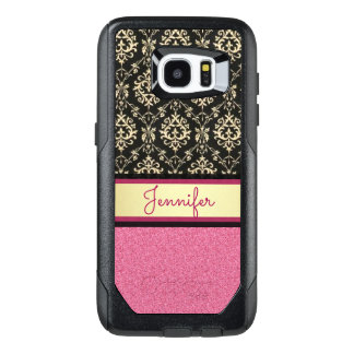 Pink Glitter, Black Gold Swirls Damask name OtterBox Samsung Galaxy S7 Edge Case