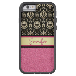 Pink Glitter, Black Gold Swirls Damask name Tough Xtreme iPhone 6 Case