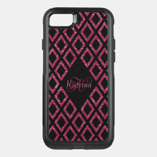 Pink Glitter Black Pattern Personalized OtterBox Commuter iPhone 8/7 Case