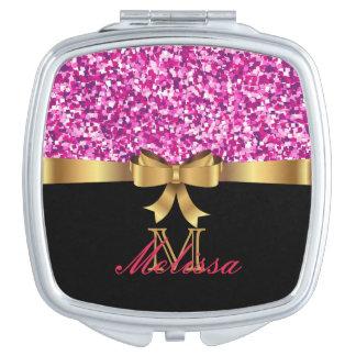 PINK  GLITTER  BLACK teal GOLDEN BOW MONOGRAM Mirror For Makeup