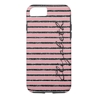 Pink Glitter Black With Name Case-Mate iPhone Case