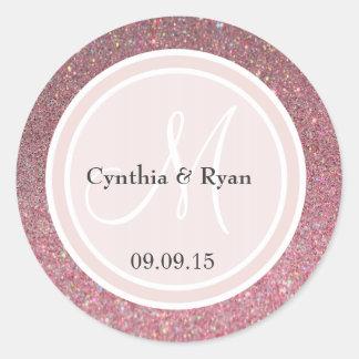 Pink Glitter & Blush Pink Wedding Monogram Round Sticker