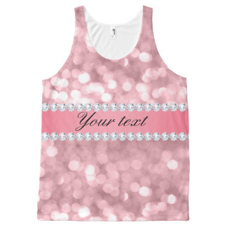 Pink Glitter Bokeh and Diamonds Personalized All-Over-Print Tank Top