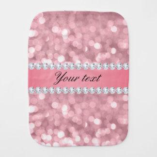 Pink Glitter Bokeh and Diamonds Personalized Burp Cloth