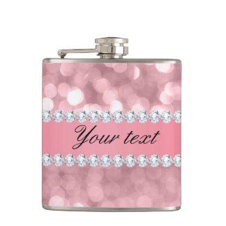 Pink Glitter Bokeh and Diamonds Personalized Flasks