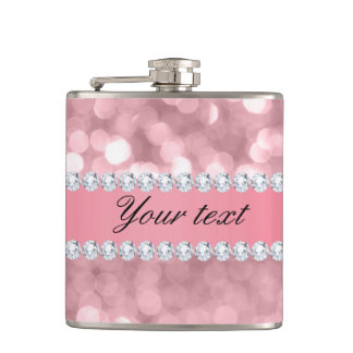 Pink Glitter Bokeh and Diamonds Personalized Hip Flask