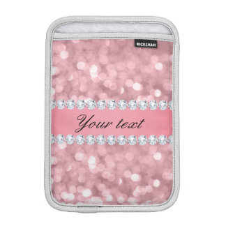 Pink Glitter Bokeh and Diamonds Personalized iPad Mini Sleeve