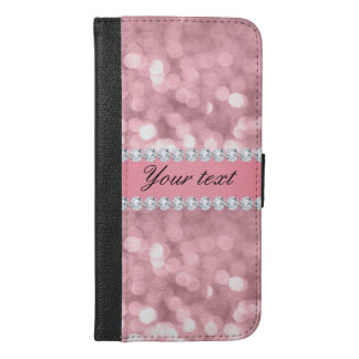 Pink Glitter Bokeh and Diamonds Personalized iPhone 6/6s Plus Wallet Case