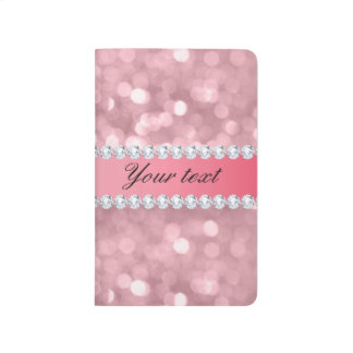 Pink Glitter Bokeh and Diamonds Personalized Journal