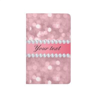 Pink Glitter Bokeh and Diamonds Personalized Journals