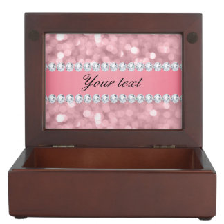 Pink Glitter Bokeh and Diamonds Personalized Keepsake Box