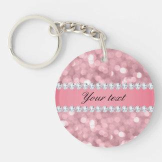 Pink Glitter Bokeh and Diamonds Personalized Keychain