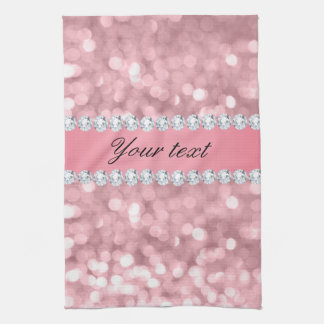 Pink Glitter Bokeh and Diamonds Personalized Kitchen Towel